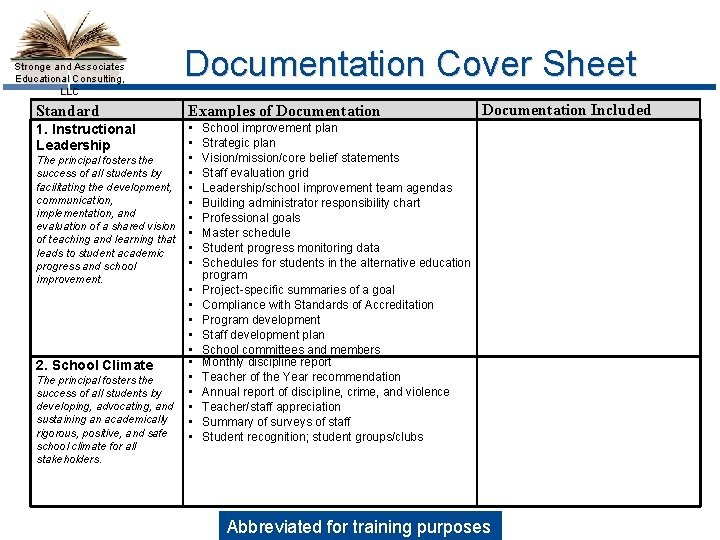 Stronge and Associates Educational Consulting, LLC Standard Documentation Cover Sheet Examples of Documentation 1.