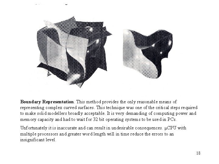 Boundary Representation. This method provides the only reasonable means of representing complex curved surfaces.