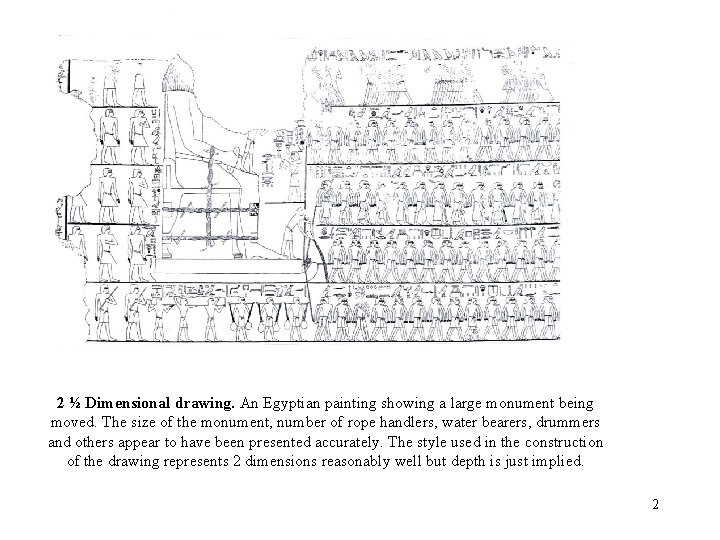 2 ½ Dimensional drawing. An Egyptian painting showing a large monument being moved. The