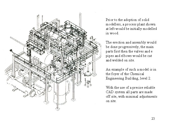 Prior to the adoption of solid modellers, a process plant shown at left would