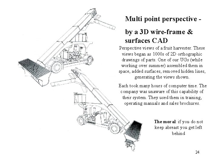 Multi point perspective by a 3 D wire-frame & surfaces CAD Perspective views of