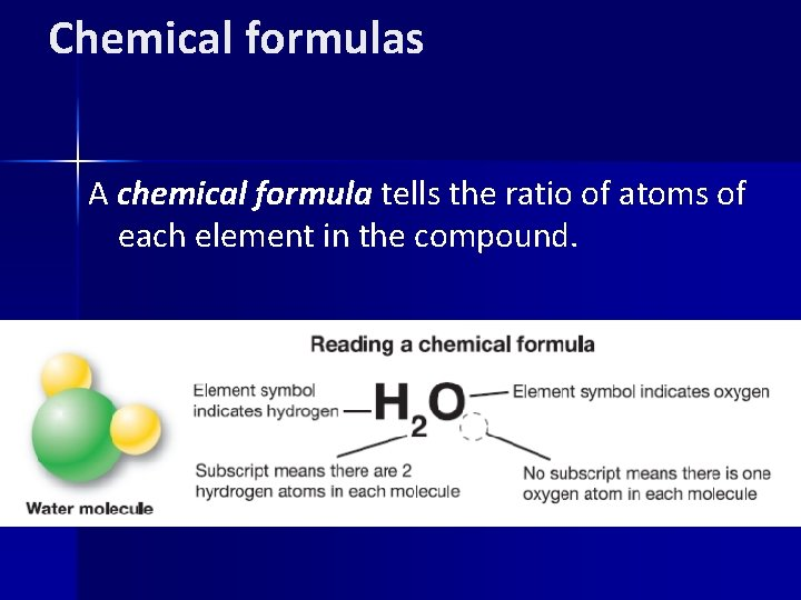 Chemical formulas A chemical formula tells the ratio of atoms of each element in