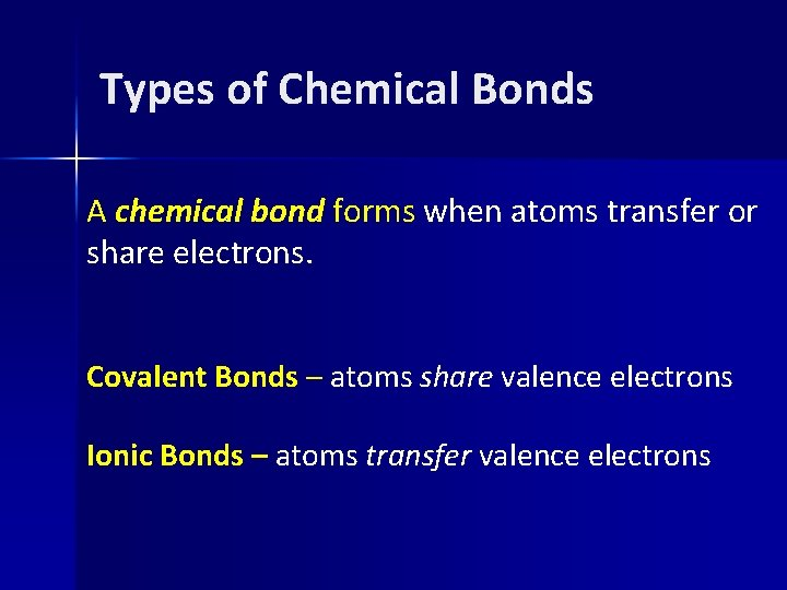 Types of Chemical Bonds A chemical bond forms when atoms transfer or share electrons.