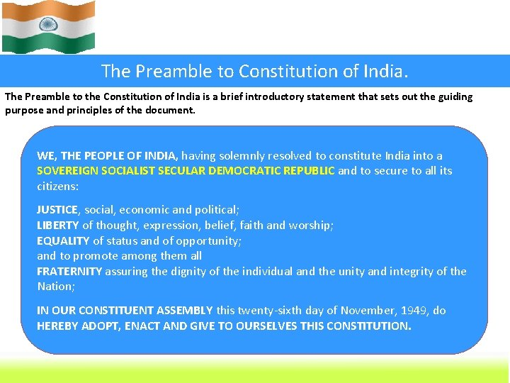 The Preamble to Constitution of India. The Preamble to the Constitution of India is