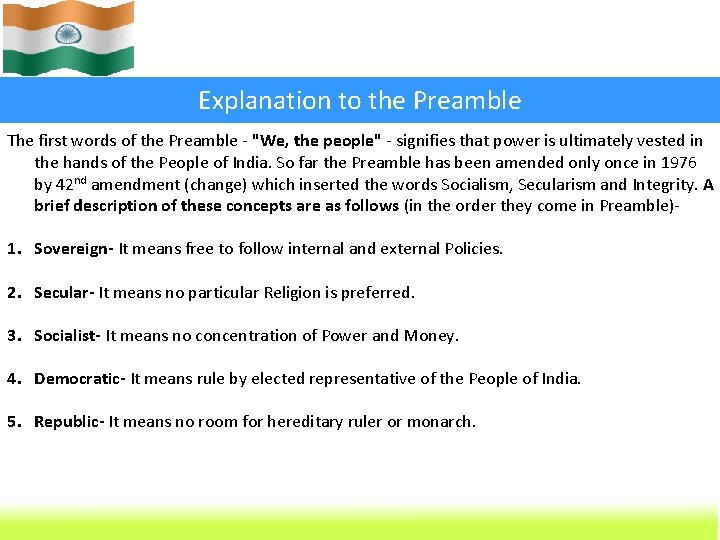 """Explanation to the Preamble The first words of the Preamble - """"We, the people"""""""