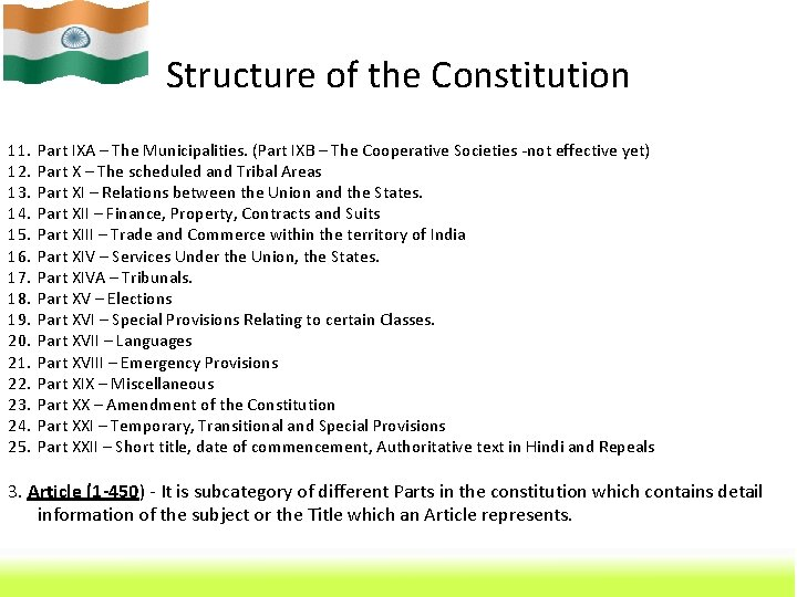 Structure of the Constitution 11. 12. 13. 14. 15. 16. 17. 18. 19. 20.