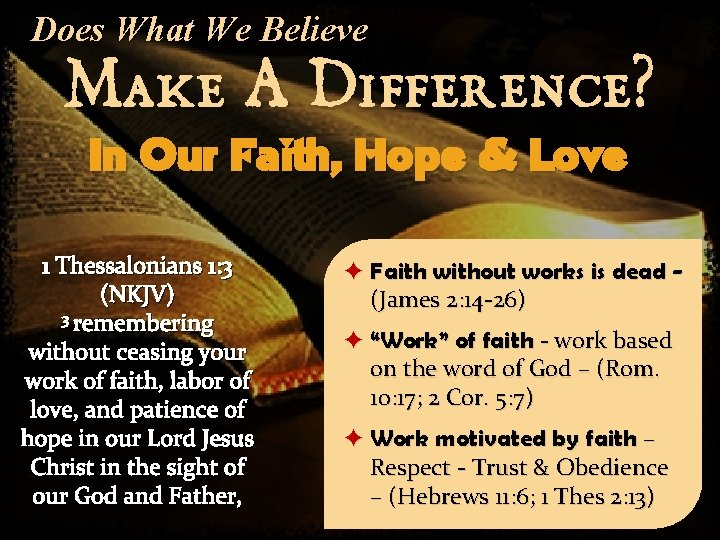 Does What We Believe Make A Difference? In Our Faith, Hope & Love 1
