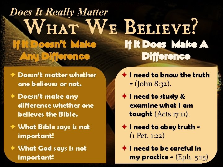 Does It Really Matter What We Believe? If It Doesn't Make Any Difference If