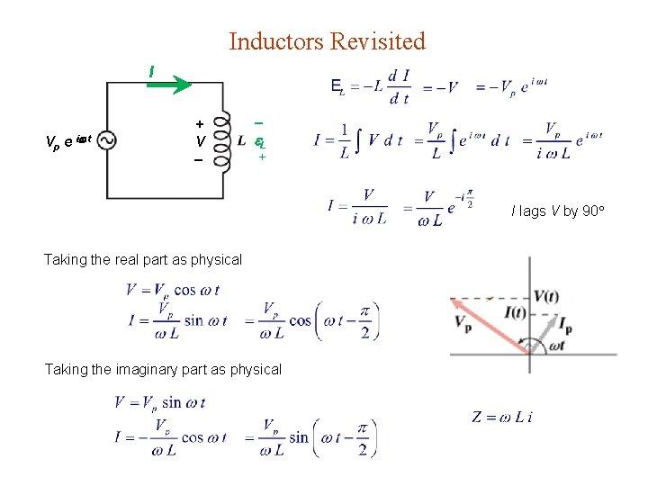 Inductors Revisited I Vp e i t + V L + I lags V