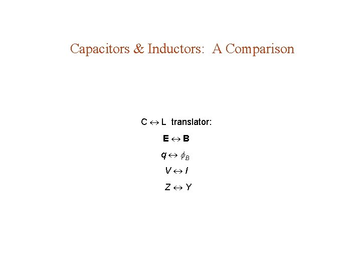Capacitors & Inductors: A Comparison C L translator: E B q B V I