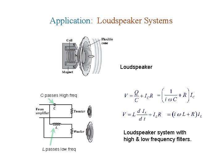 Application: Loudspeaker Systems Loudspeaker C passes High freq Loudspeaker system with high & low