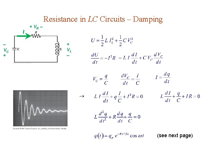 Resistance in LC Circuits – Damping I VC + + VR + VL (see