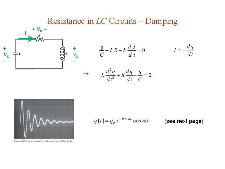 Resistance in LC Circuits – Damping I + VC + VR + VL (see