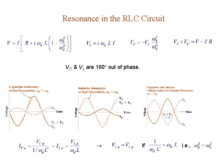Resonance in the RLC Circuit VC & VL are 180 out of phase. if