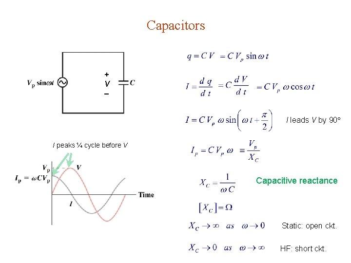 Capacitors + V I leads V by 90 I peaks ¼ cycle before V