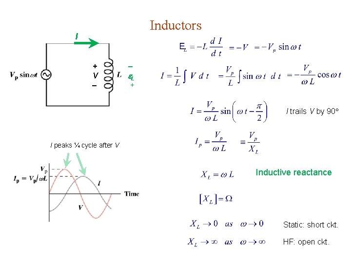 Inductors I + V L + I trails V by 90 I peaks ¼