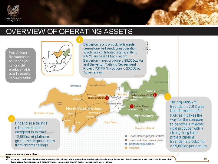 OVERVIEW OF OPERATING ASSETS 1 Pan African Resources is an unhedged junior gold producer