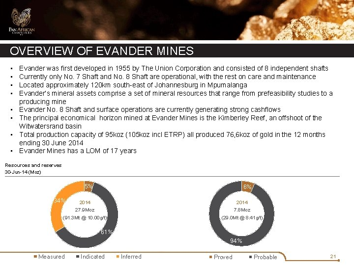 OVERVIEW OF EVANDER MINES • • Evander was first developed in 1955 by The