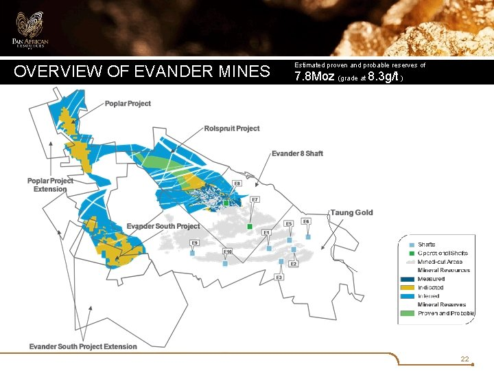 OVERVIEW OF EVANDER MINES Estimated proven and probable reserves of 7. 8 Moz (grade