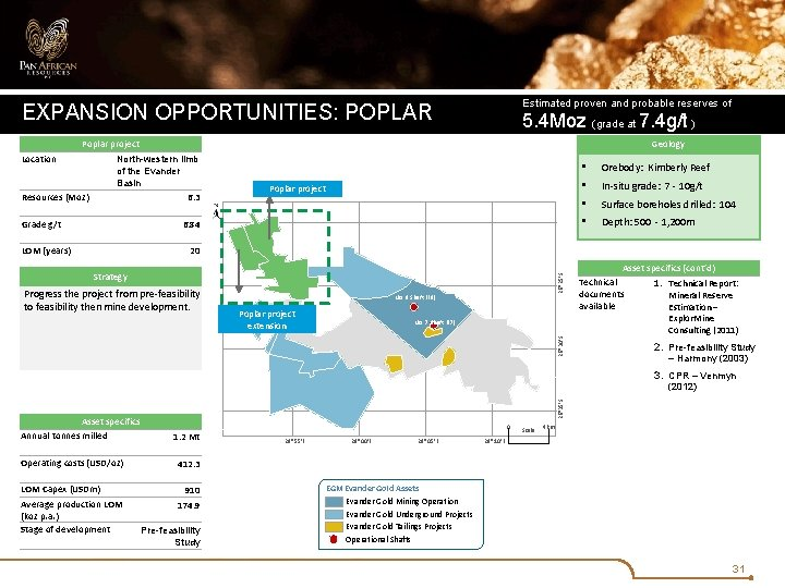 Estimated proven and probable reserves of EXPANSION OPPORTUNITIES: POPLAR 5. 4 Moz (grade at