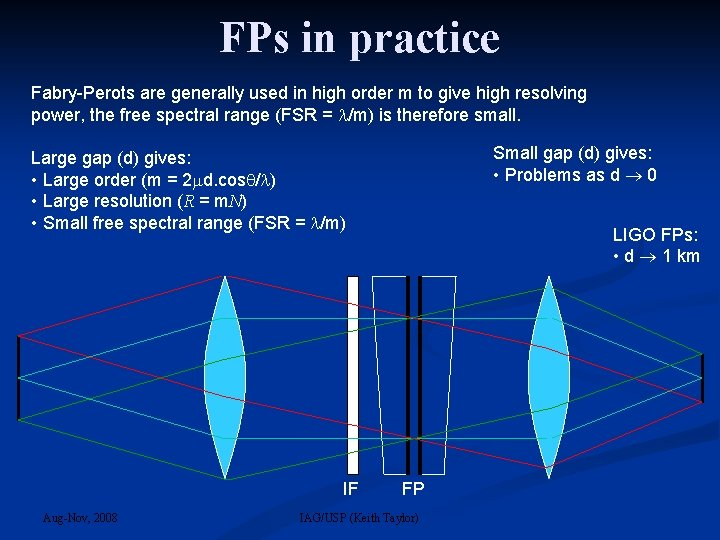 FPs in practice Fabry-Perots are generally used in high order m to give high