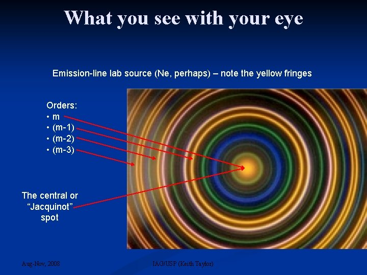 What you see with your eye Emission-line lab source (Ne, perhaps) – note the