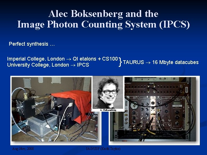 Alec Boksenberg and the Image Photon Counting System (IPCS) Perfect synthesis … } Imperial