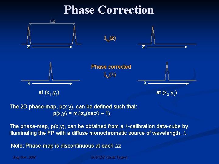Phase Correction z I 0(z) z z Phase corrected I 0( ) at (x