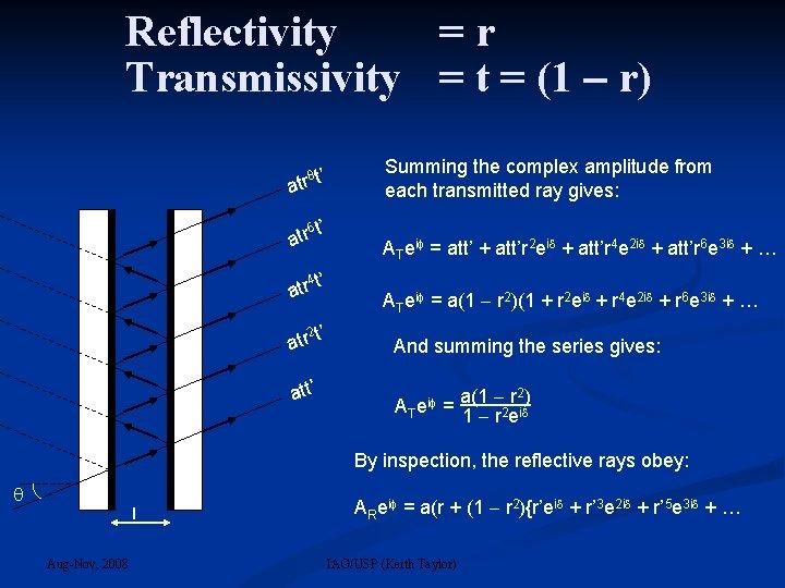 Reflectivity =r Transmissivity = t = (1 r) 8 t' atr 6 t' atr