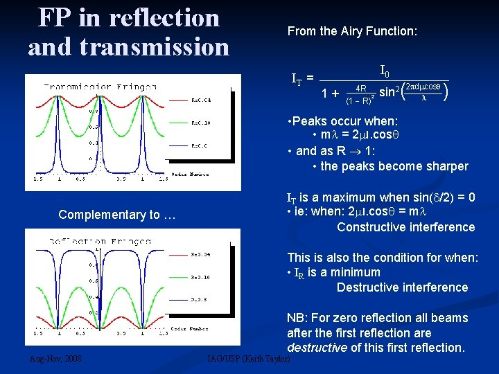 FP in reflection and transmission From the Airy Function: IT = I 0 2