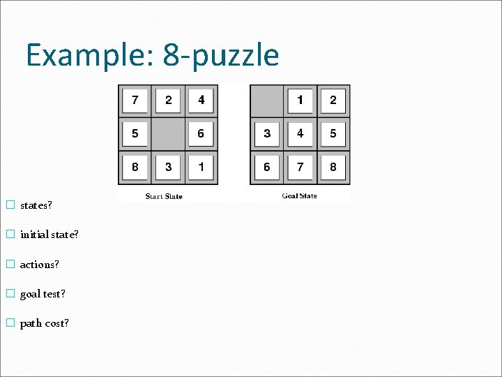 Example: 8 -puzzle � states? � initial state? � actions? � goal test? �