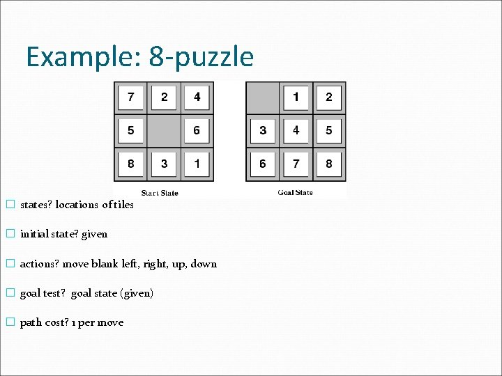 Example: 8 -puzzle � states? locations of tiles � initial state? given � actions?
