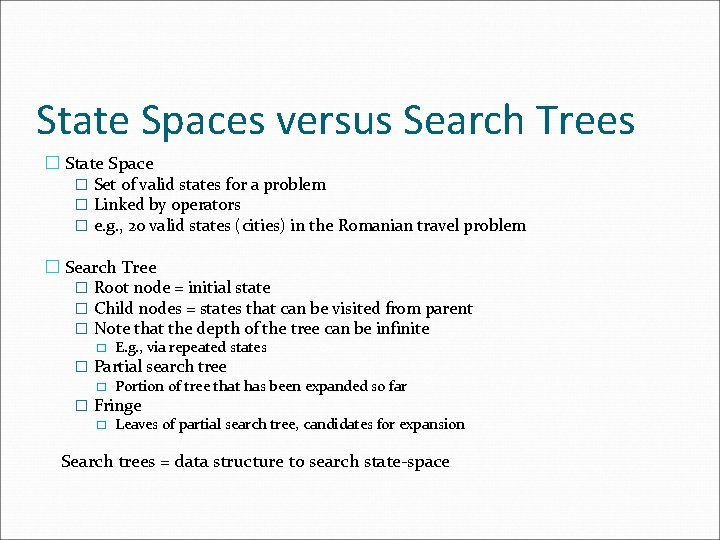 State Spaces versus Search Trees � State Space � Set of valid states for