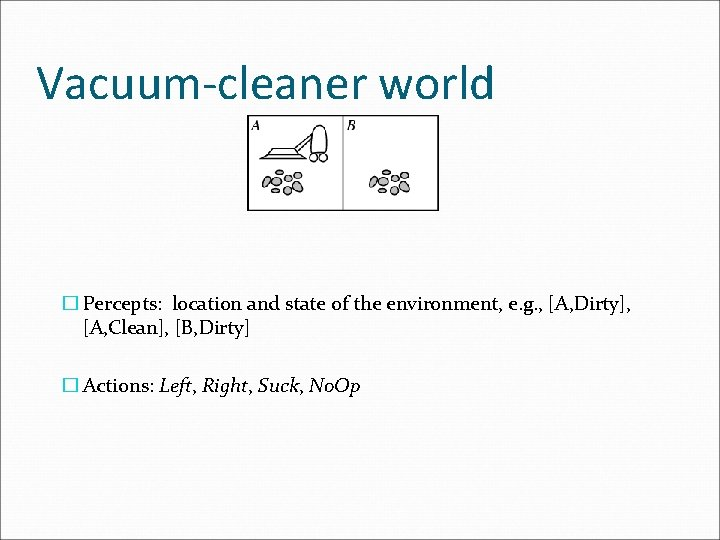Vacuum-cleaner world � Percepts: location and state of the environment, e. g. , [A,