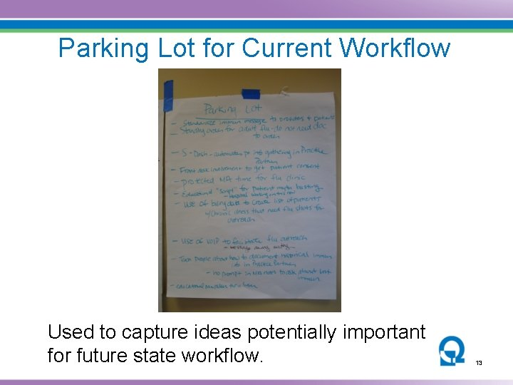 Parking Lot for Current Workflow Mapping Used to capture ideas potentially important for future