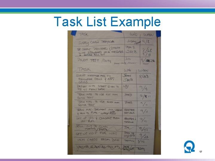 Task List Example 17
