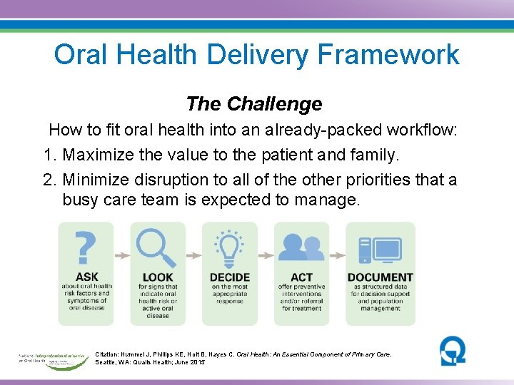 Oral Health Delivery Framework The Challenge How to fit oral health into an already-packed