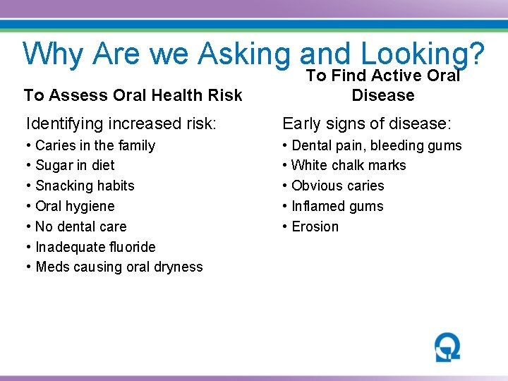 Why Are we Asking and Looking? To Assess Oral Health Risk To Find Active