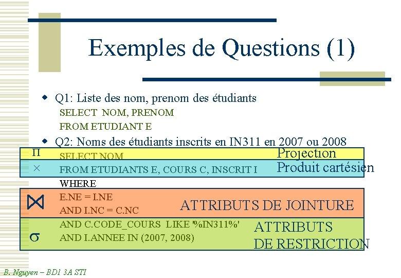 Exemples de Questions (1) w Q 1: Liste des nom, prenom des étudiants SELECT