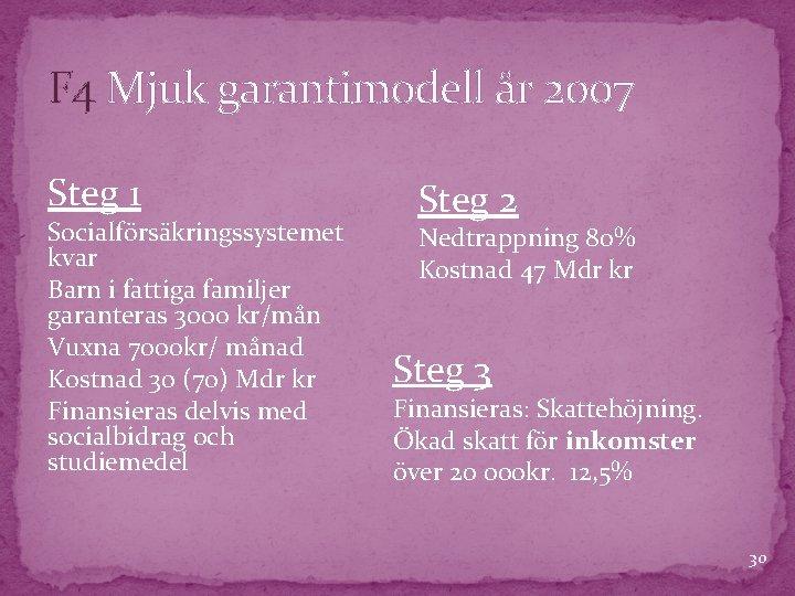 F 4 Mjuk garantimodell år 2007 Steg 1 Socialförsäkringssystemet kvar Barn i fattiga familjer