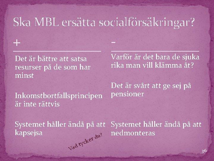 Ska MBL ersätta socialförsäkringar? + - Det är bättre att satsa resurser på de