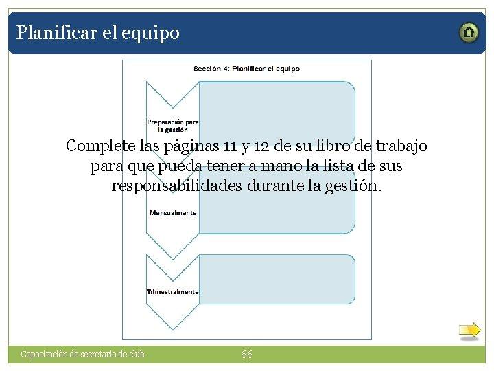 Planificar el equipo Complete las páginas 11 y 12 de su libro de trabajo