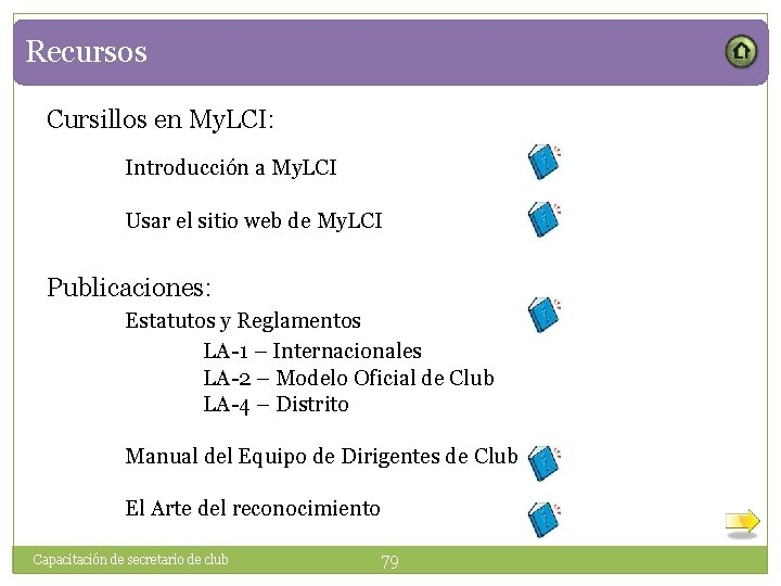 Recursos Cursillos en My. LCI: Introducción a My. LCI Usar el sitio web de