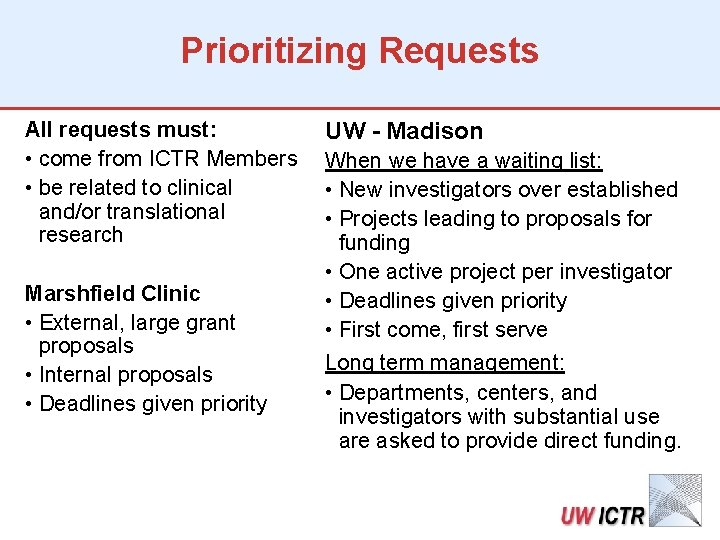 Prioritizing Requests All requests must: • come from ICTR Members • be related to