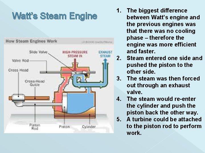 Watt's Steam Engine 1. The biggest difference between Watt's engine and the previous engines