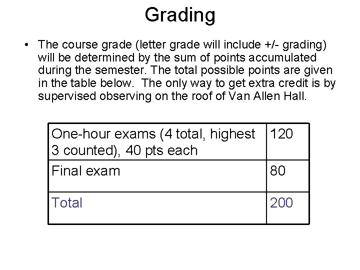 Grading • The course grade (letter grade will include +/- grading) will be determined