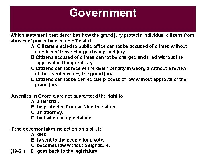 Government Which statement best describes how the grand jury protects individual citizens from abuses