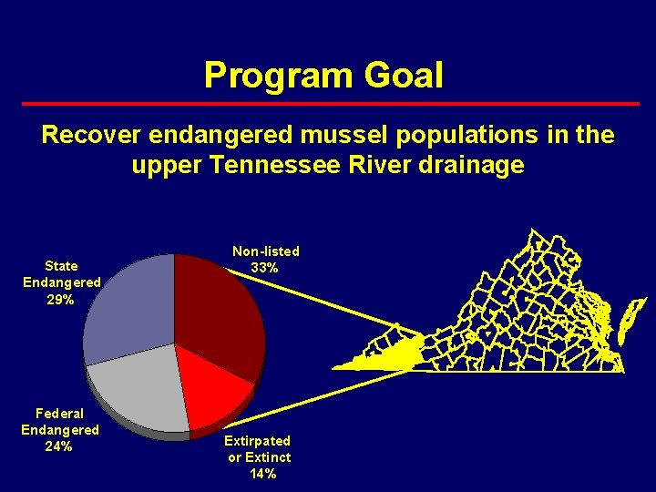 Program Goal Recover endangered mussel populations in the upper Tennessee River drainage State Endangered