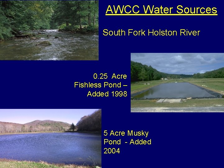 AWCC Water Sources South Fork Holston River 0. 25 Acre Fishless Pond – Added