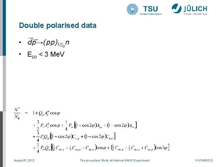Double polarised data →→ • dp→(pp)1 S 0 n • Epp < 3 Me.
